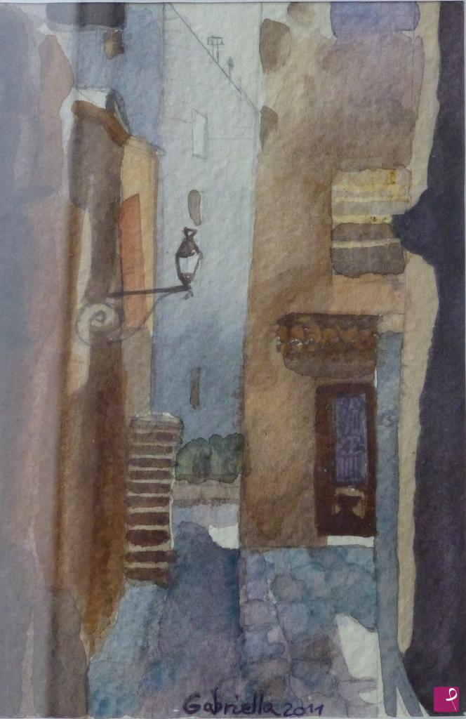 disponibile painting - Characteristic alley in Liguria