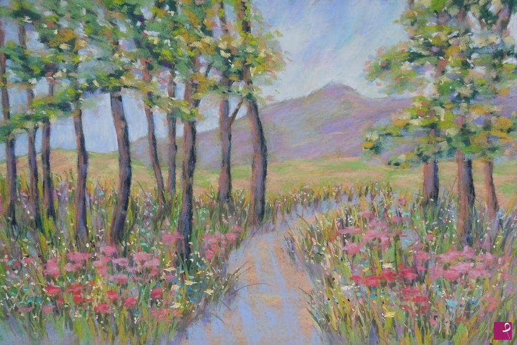 Sale Painting Pink Flowers In The Forest Gloria Romagnoli