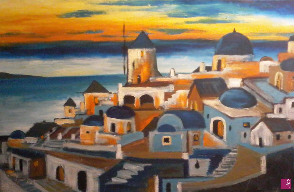 Collezione Privata Painting Santorini Views At Sunset