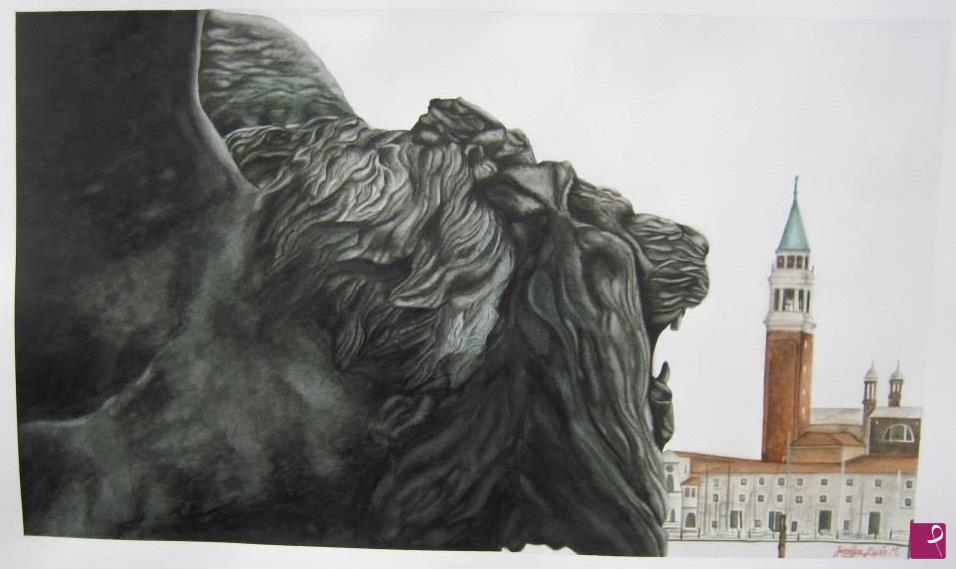 Sale painting - The Lion of San Marco and the island of San Giorgio ...