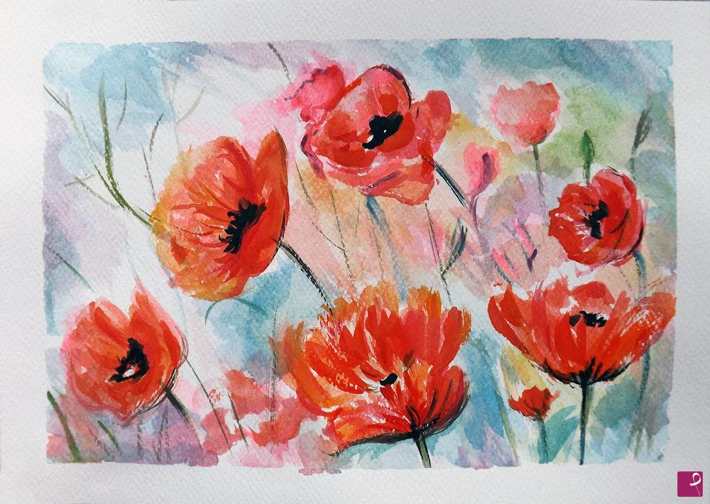 Vendita quadro - Acquerello fiori papaveri dipinto a mano - Ornella ...