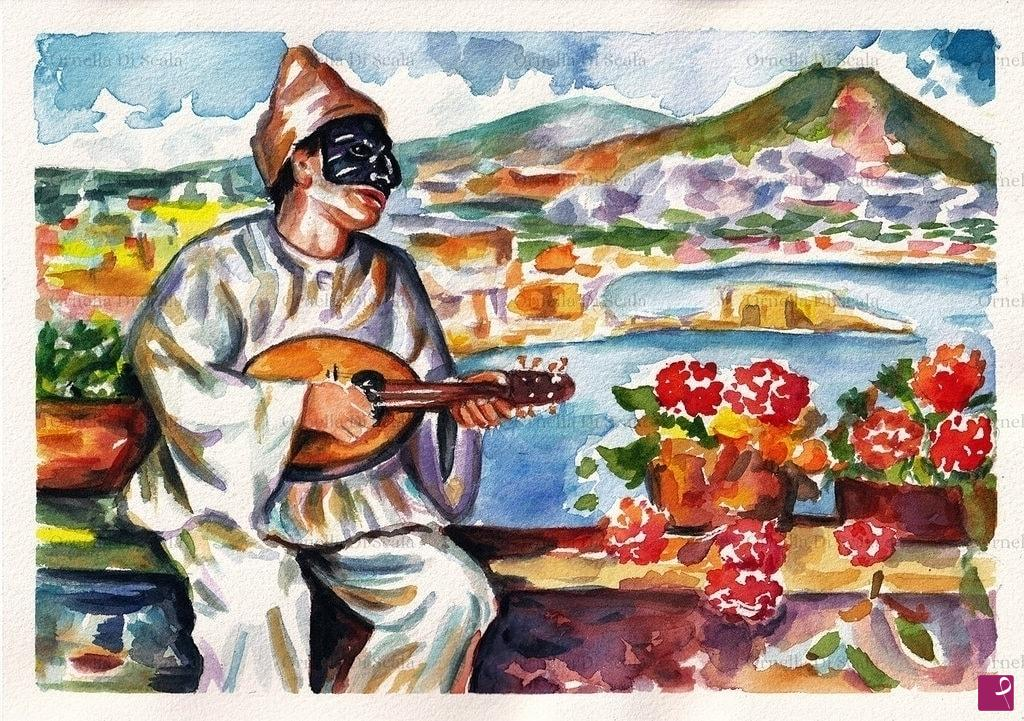 Vendita quadro acquerello maschera pulcinella napoli for O giardino di pulcinella roma