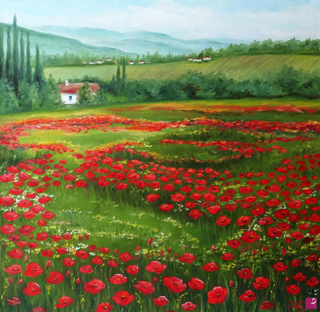 Quadro su tela papaveri fiori spirito della natura for Quadri con papaveri rossi