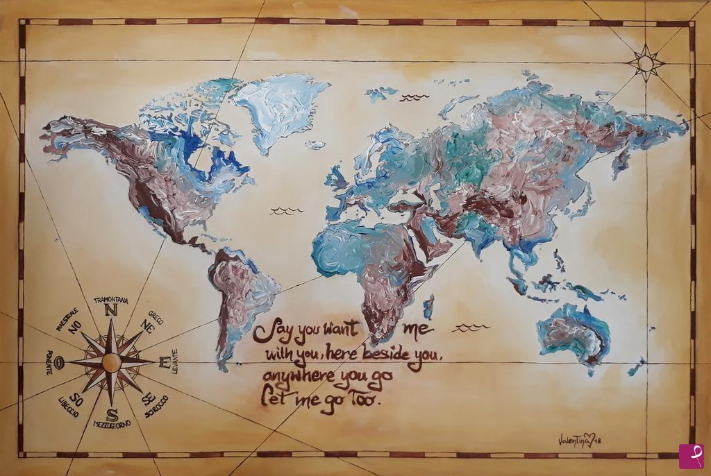 Quadro Cartina Mondo.Collezione Privata Quadro Cartina Del Mondo Valentina Pitturiamo