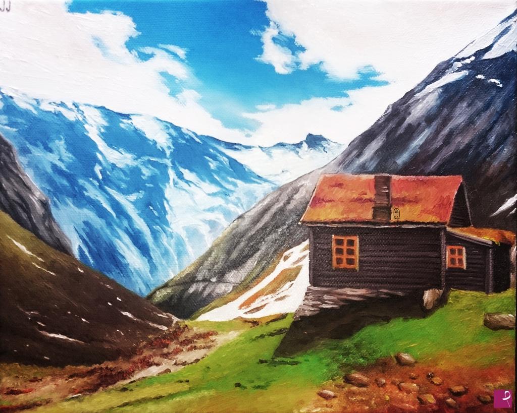 Vendita quadro casa di montagna jade pitturiamo - Casa di montagna ...