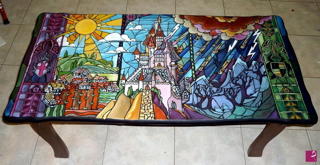Vendita quadro castello da la bella e la bestia tavolino dipinto