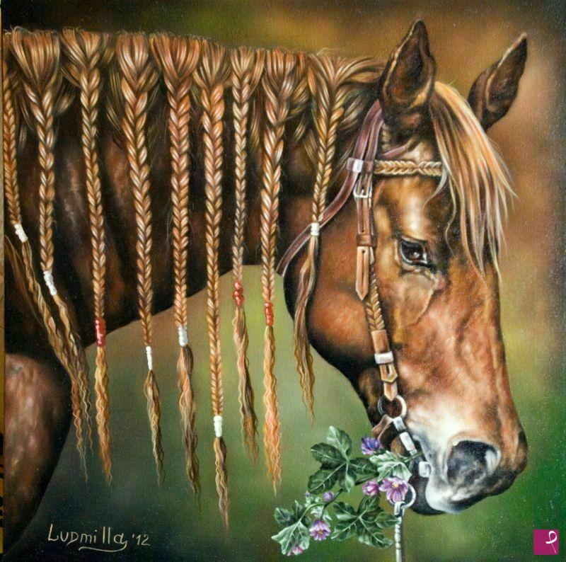 Vendita quadro - Cavallo con treccine - Ludmilla Filippova ...