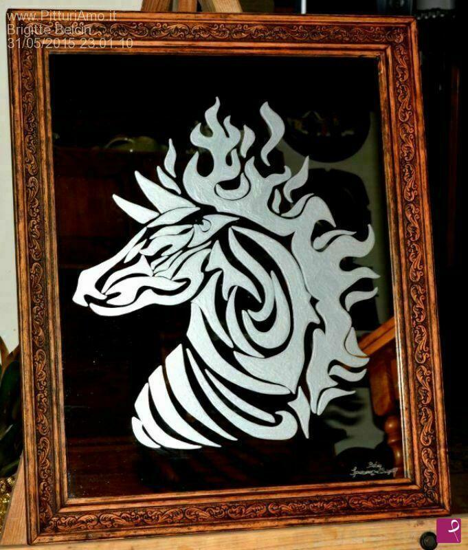 Vendita quadro cavallo stilizzato brigitte belcin for Cavallo stilizzato