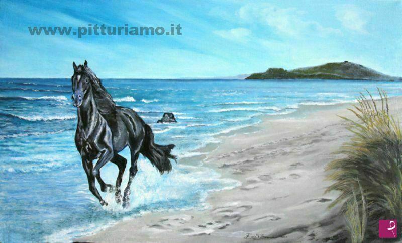 Vendita quadro - Cavallo su spiaggia - Ezio Bruno | PitturiAmo®