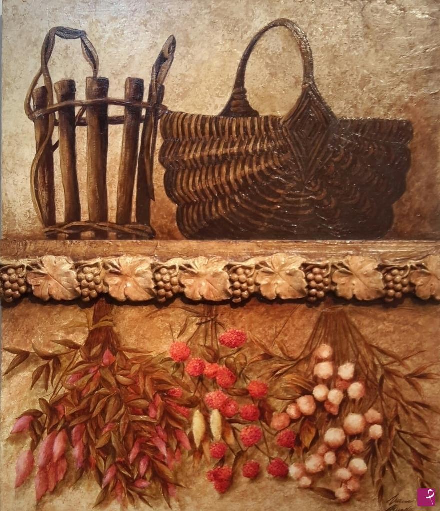 vendita quadro cesti e fiori secchi lucia amadio