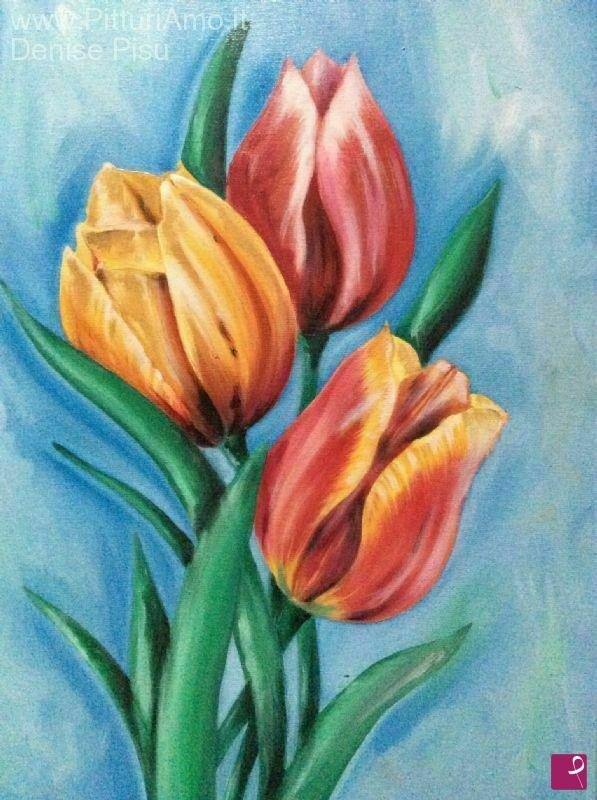 Vendita quadro colori su tulipani denise pisu for Quadri semplici