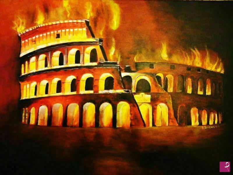 Vendita quadro colosseo in fiamme dumitru budacan pitturiamo