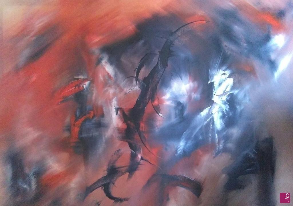 Vendita quadro composizione rossa nera d.sbaffi pitturiamo®