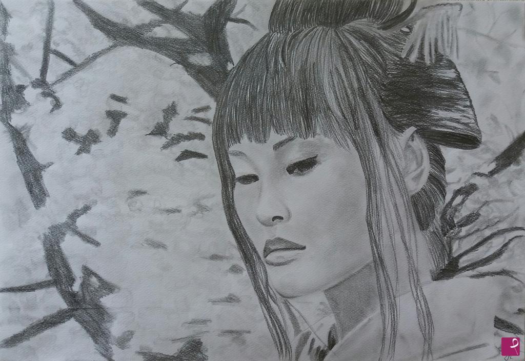 abbastanza Vendita quadro - Disegno a matita su carta. Ritratto di una geisha  QU66