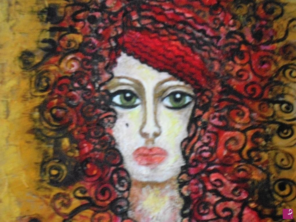 disponibile quadro - Donna con i capelli ricci rossi ...