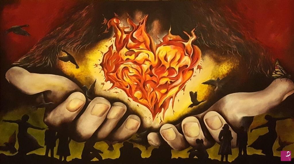 Vendita quadro fiamme pulsanti e passione nello carpinteri