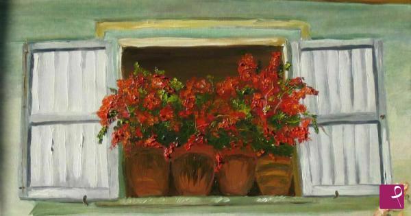 Vendita quadro fiori alla finestra violeta coteanu for Ragazza alla finestra quadro