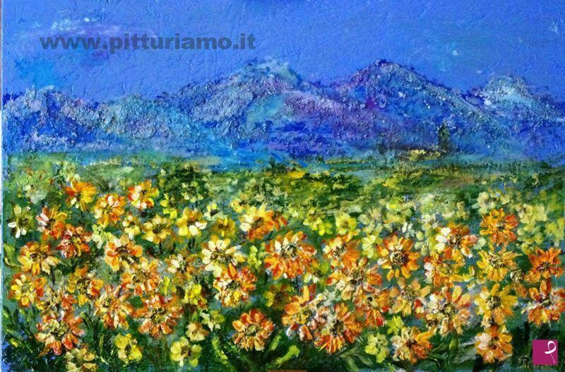 Vendita quadro i fiori e la montagna rita teri for Quadri fiori secchi vendita