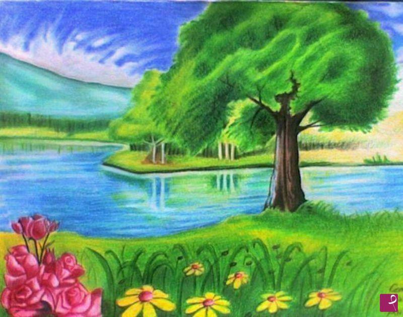 Collezione privata quadro il lago oronzo curvo for Disegni di laghi
