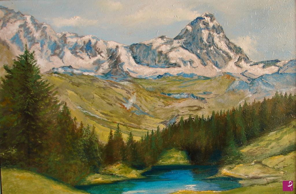 Vendita quadro il lago blu da cervinia giorgio travaini pittore