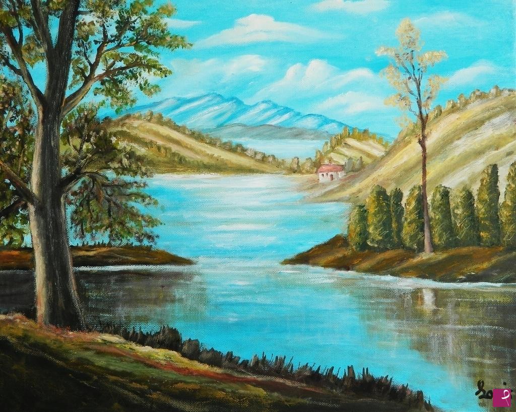 Vendita quadro il lago sui colli federica e loris pitturiamo