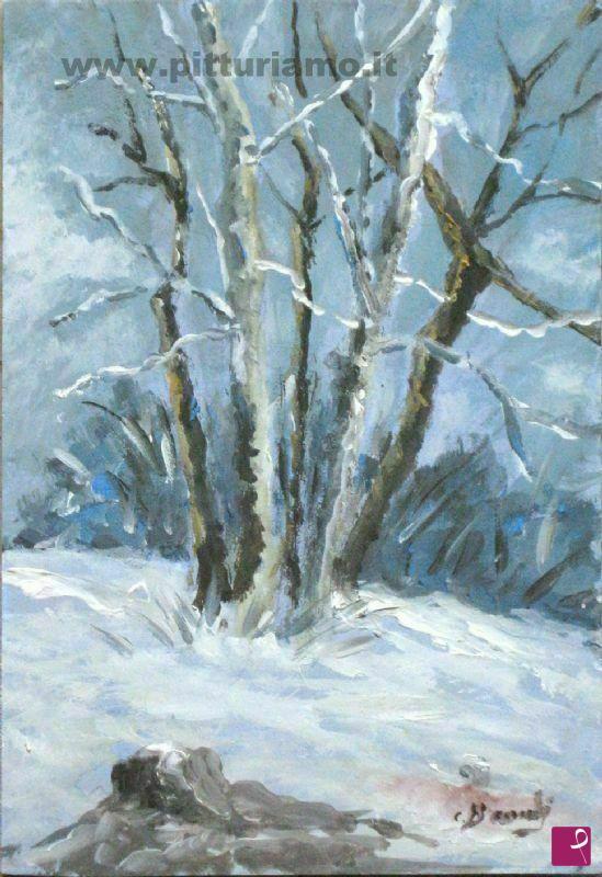 Vendita quadro inverno 5 alberi bramby pitturiamo for Alberi in vendita