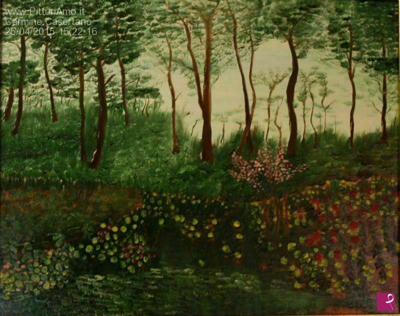 Vendita quadro laghetto nel bosco carmine casertano for La casa nel laghetto
