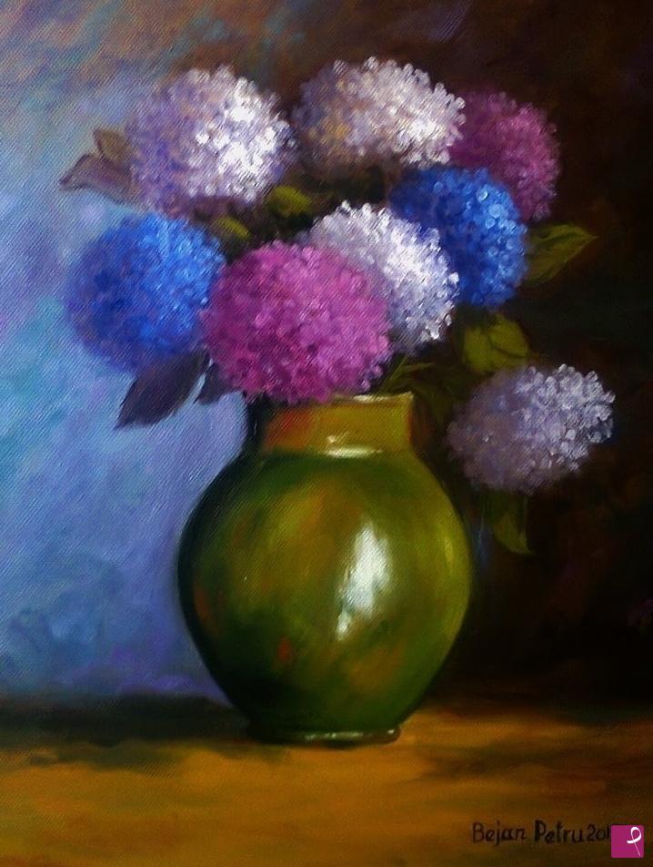 Vendita quadro le ortensie in vaso di teracota petru for Ortensie in vaso