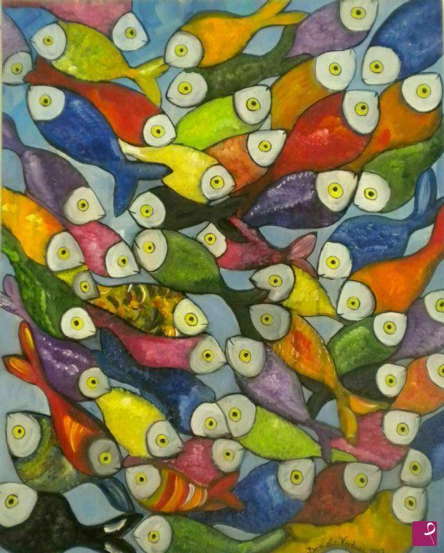 Vendita quadro mare di colori daniela verduci for Comprare pesci online