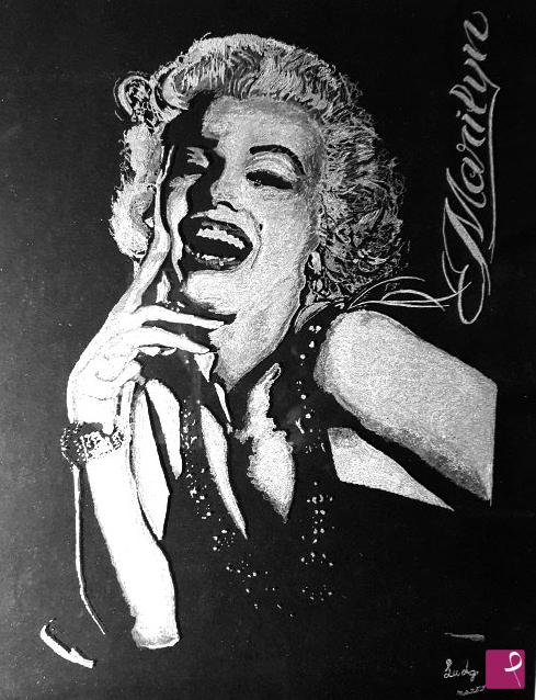 Vendita quadro - Marilyn Monroe Incisione a mano su vetro - Lucia Di ...
