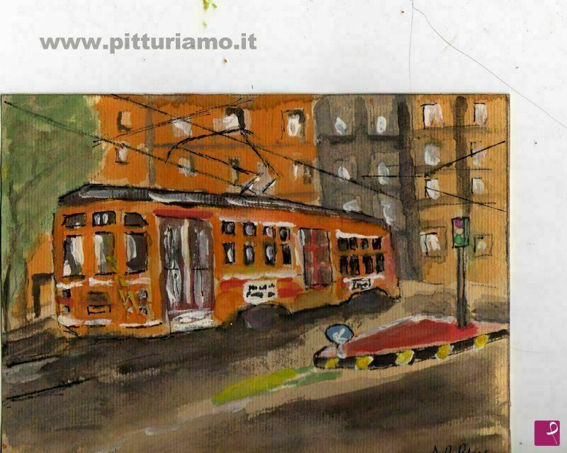 Vendita quadro - milano tram - Aniello De Biase | PitturiAmo®