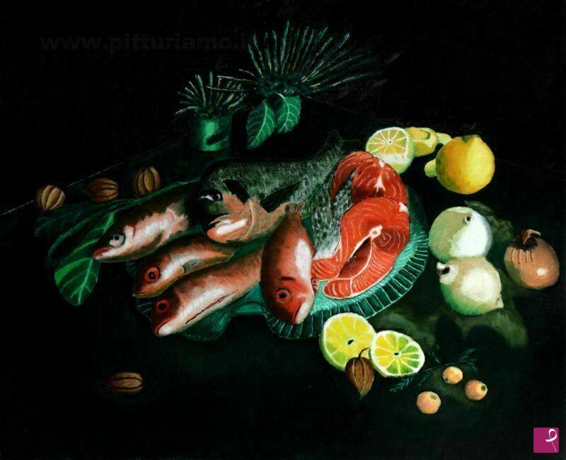 Vendita quadro natura morta con pesci fiorentino for Vendita pesci on line
