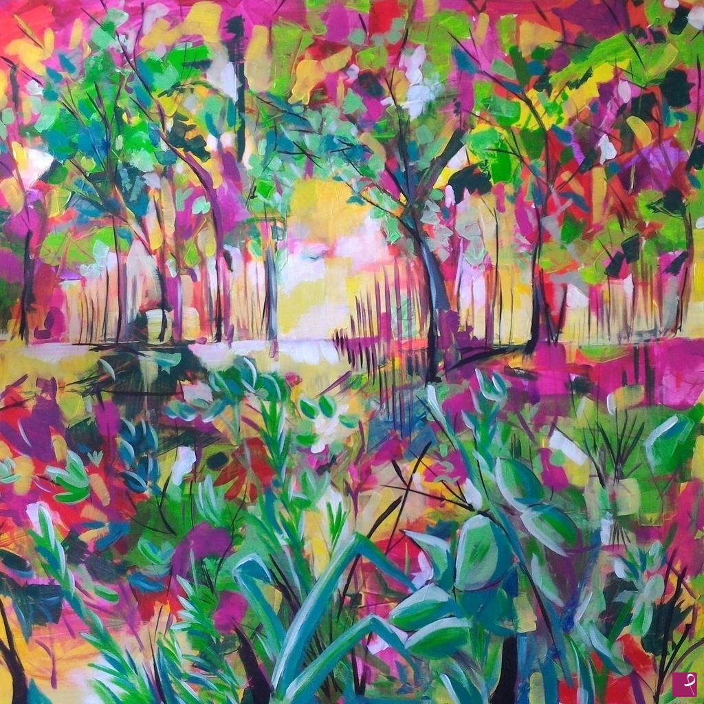 Vendita quadro paesaggio con fiori archaldo pitturiamo for Quadri fiori secchi vendita