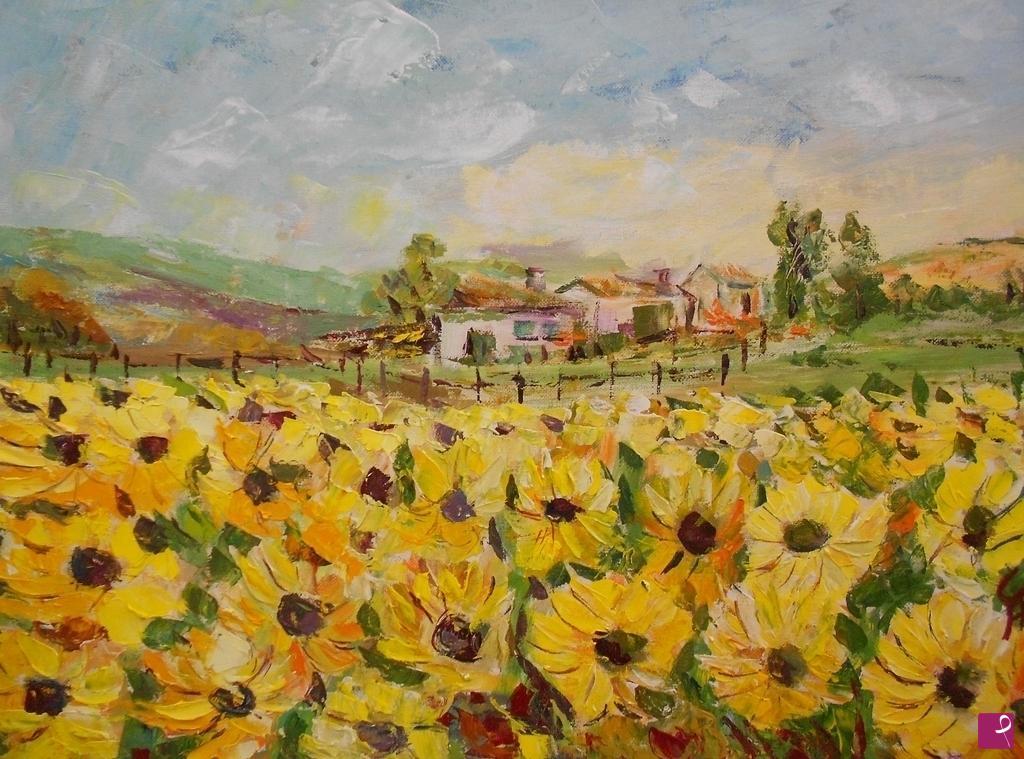 Vendita quadro paesaggio con girasoli fante pitturiamo for Vendita dipinti online