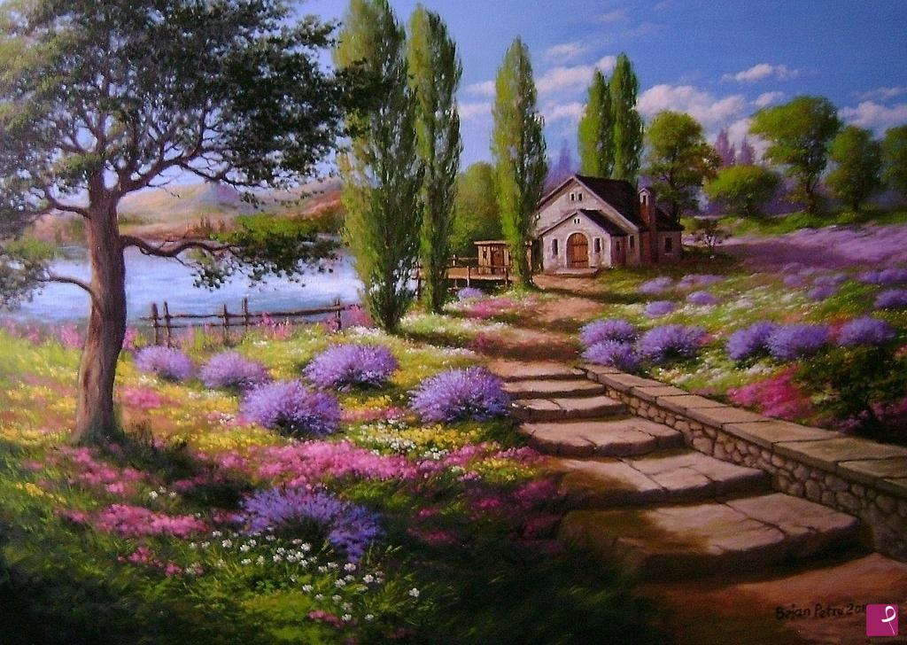 Vendita quadro - Paesaggio con lavanda - Petru Bejan | PitturiAmo®