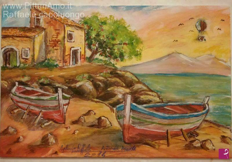 Vendita quadro - Paesaggio con vista sul mare - Raffaele ...