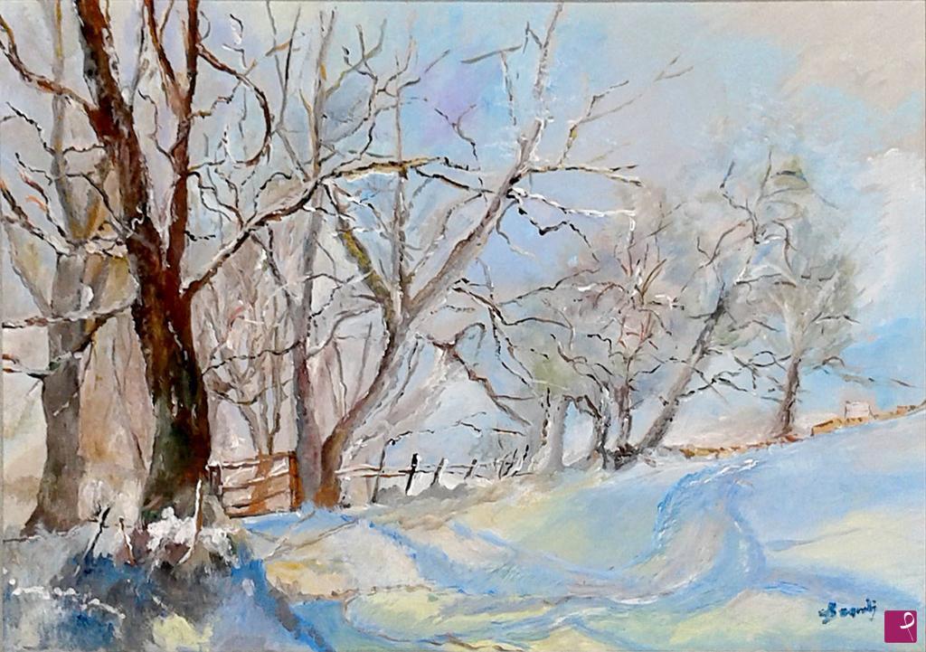 Vendita quadro - paesaggio invernale con neve - Bramby | PitturiAmo®