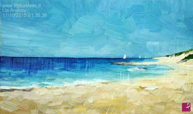 Vendita quadro - Paesaggio marino con le barche a vela, quadro ...