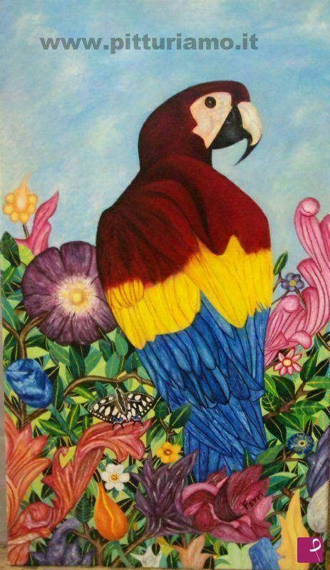 Vendita quadro pappagallo con fiori giuseppe ferri for Quadri fiori secchi vendita