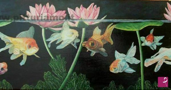 Vendita quadro pesci rossi con ninfee maurizio giglio for Vendita pesci rossi on line