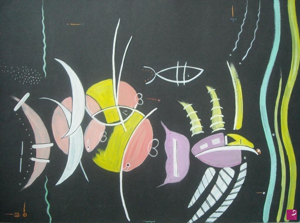 Vendita quadro pesci stilizzati william mambelli for Vendita pesci rossi on line