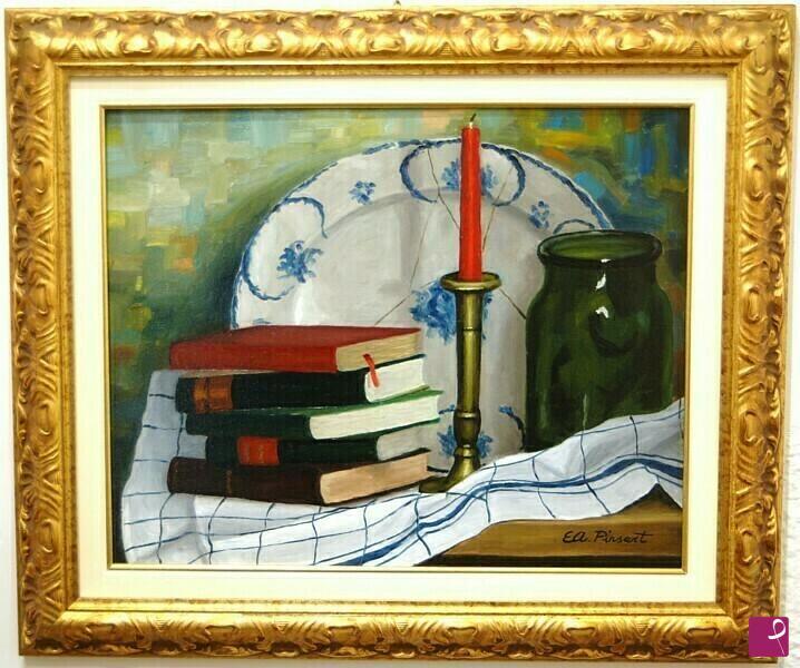 Vendita quadro piatto blu e libri bianca gallotti for Libri in vendita online