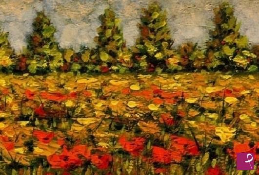 Vendita quadro - Prato fiorito con papaveri - Bruno Suman | PitturiAmo®