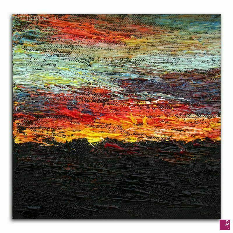 Vendita quadro - Quadro moderno astratto piccolo, tramonto, olio su ...