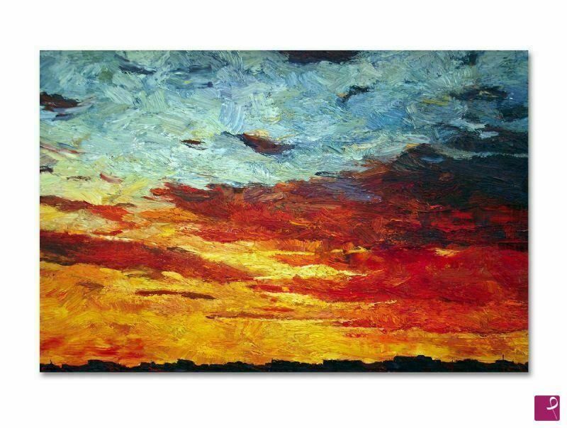 Vendita quadro - Quadro moderno astratto, tramonto olio su tela ...