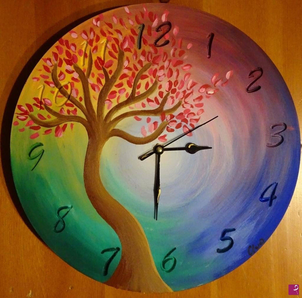 Vendita quadro - Quadro-orologio dipinto a mano su legno, Handmade ...