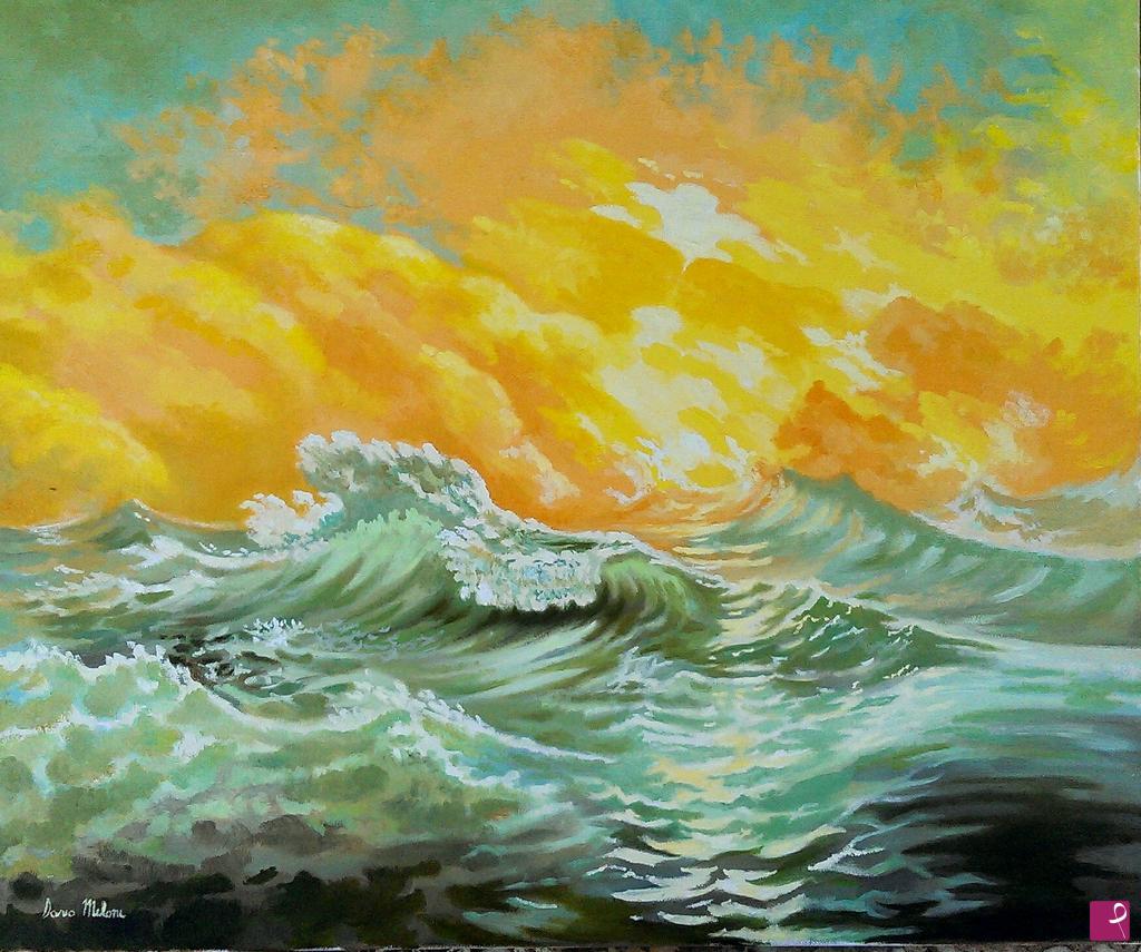 Vendita quadro - Quadro Paesaggio seascape, dipinto a mano, olio su ...