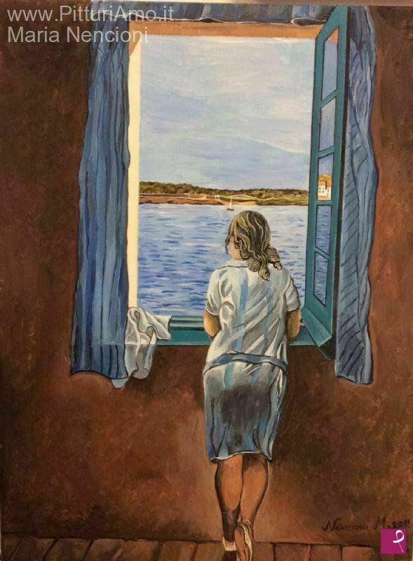 Vendita quadro ragazza alla finestra maria nencioni for Ragazza alla finestra quadro