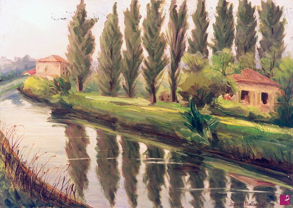 Vendita quadro riviera del brenta pioppi leonida beltrame