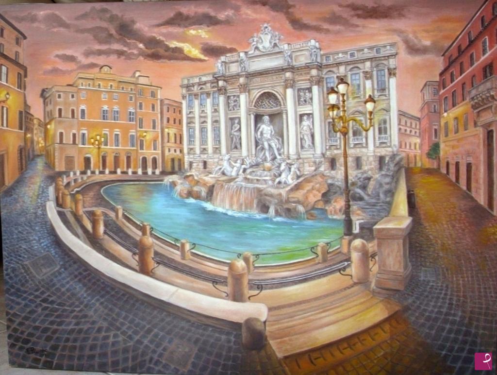 """Quadri Moderni Roma Vendita disponibile quadro - roma, """"fontana di trevi"""" - fiorella"""